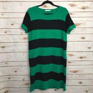 MNG Black Green Striped Career Dress